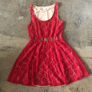 Red + Nude Lace Socialite Dress